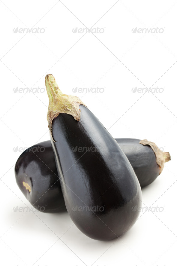 two eggplants on white background - Stock Photo - Images