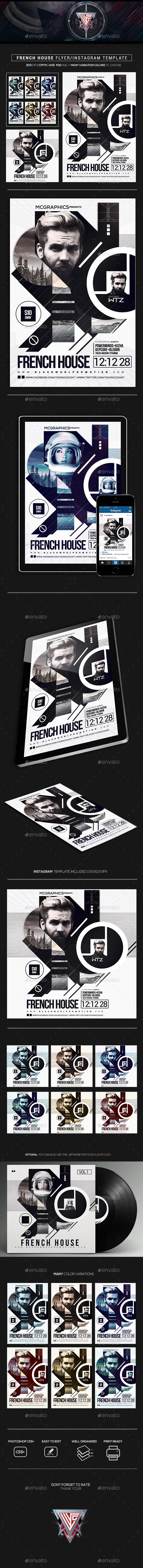 French House Flyer/Instagram Template - Events Flyers