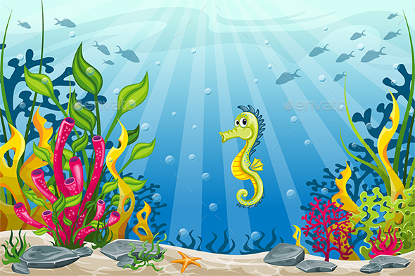 Illustration of Underwater Landscape with Seahorse - Landscapes Nature