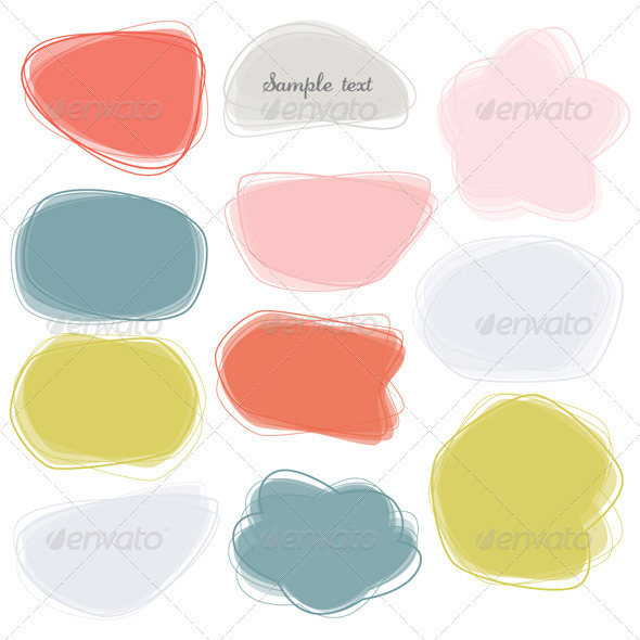 Colorful Labels / Speech Bubbles Set - Decorative Symbols Decorative
