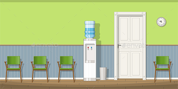 Illustration of a Waiting Room with Chairs and Water Cooler - Miscellaneous Vectors