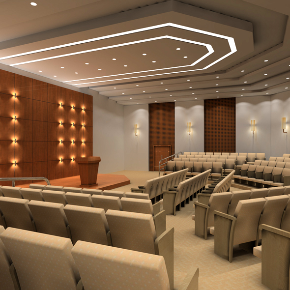 Academic lecture hall, conference hall, reception hall - 3DOcean Item for Sale