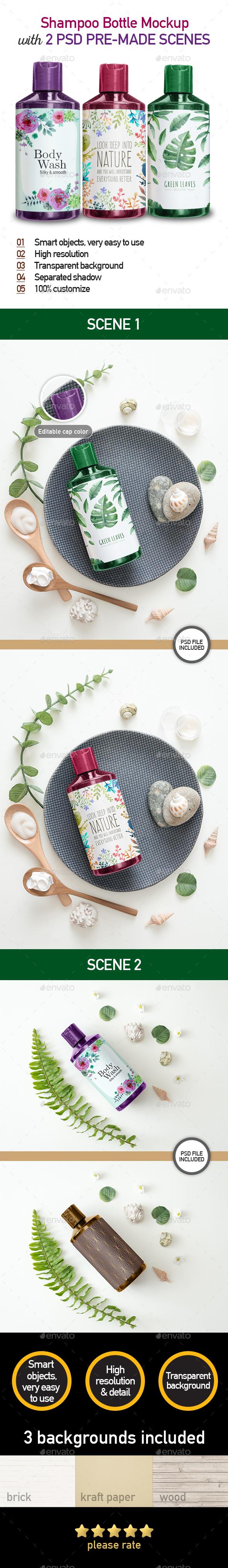 Shampoo Bottle Mockup - Set of 2 Realistic Photo Mock up - Product Mock-Ups Graphics