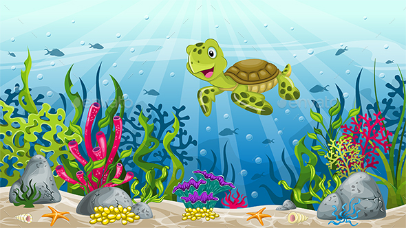 Illustration of Underwater Landscape with Turtle - Landscapes Nature