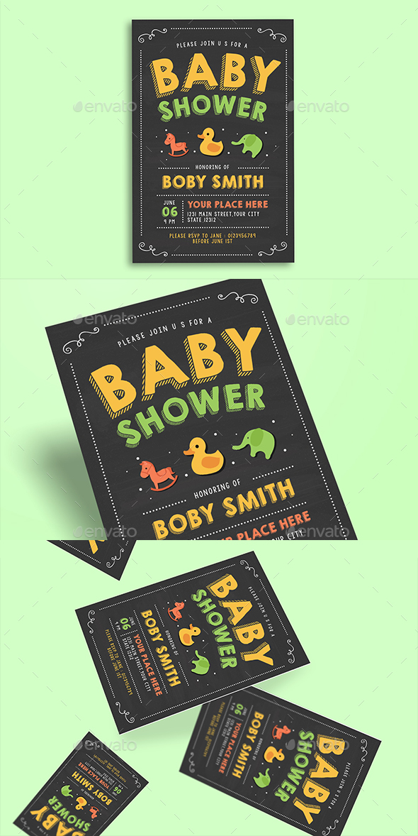 Baby Shower Invitation Chalkboard Style - Cards & Invites Print Templates