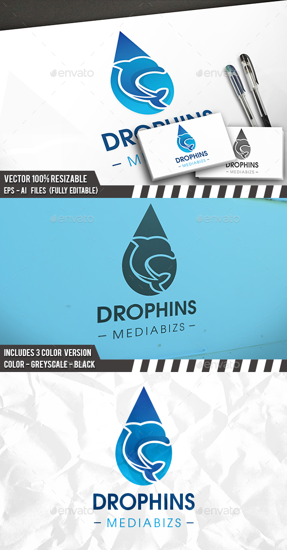 Dolphin Water Drop Logo - Animals Logo Templates
