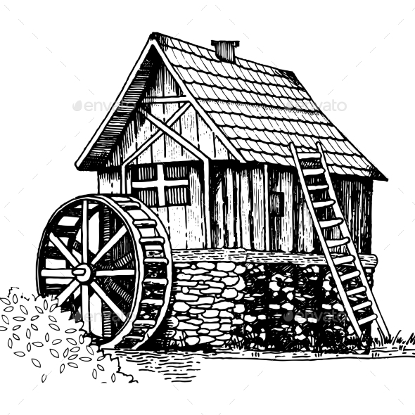 Old Water Mill Engraving Style Vector Illustration - Miscellaneous Vectors