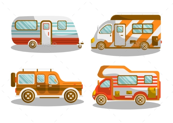 Camping Bus or Camper Van Vector Illustration - Miscellaneous Vectors