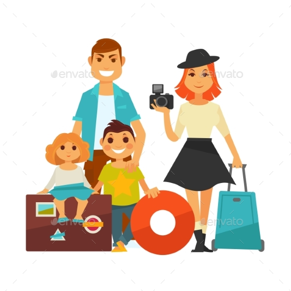 Family People Travel Vector Flat Icons Woman, Man - People Characters