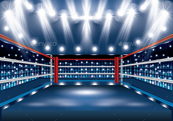 Boxing Ring with Spotlights. - Buildings Objects
