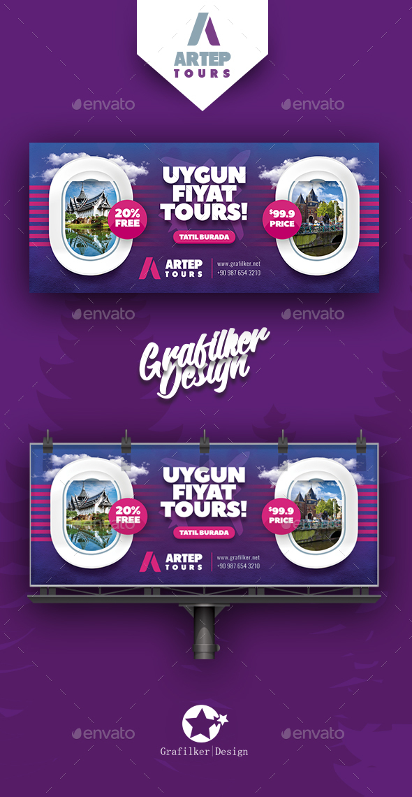 Travel Tour Billboard Templates - Signage Print Templates