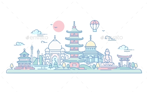 Asian Countries - Vector Line Travel Illustration - Travel Conceptual