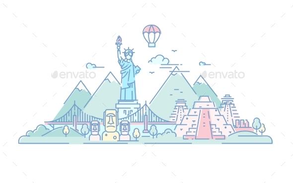 America - Vector Line Travel Illustration - Travel Conceptual