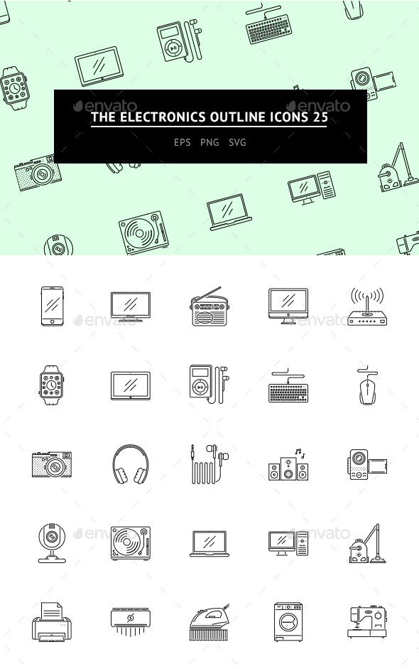 The Electronics Outline Icons 25 - Icons