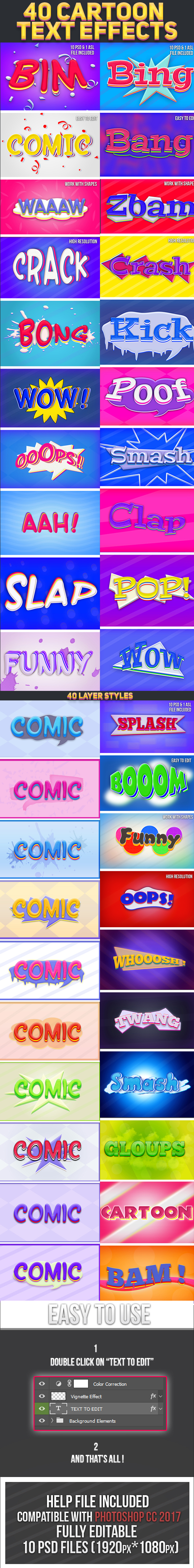 40 Cartoon Text Effects Bundle - Text Effects Styles