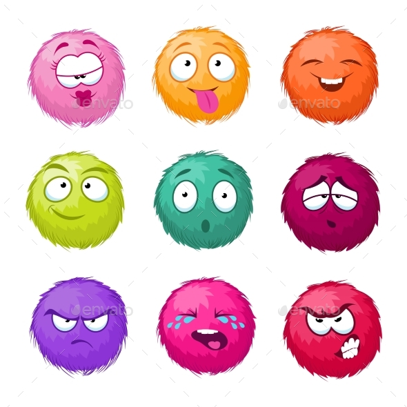 Colorful Cartoon Fluffy Ball Character - Miscellaneous Characters