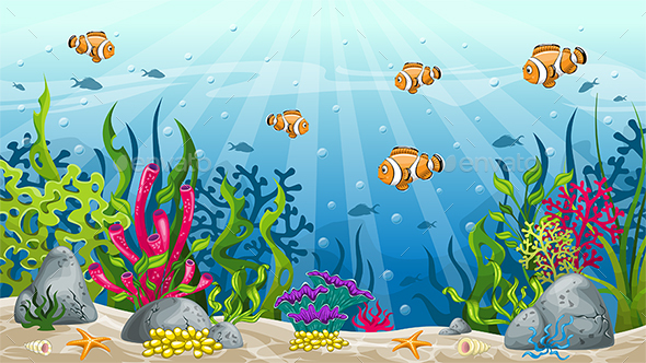 Illustration of Underwater Landscape with Clownfish - Landscapes Nature