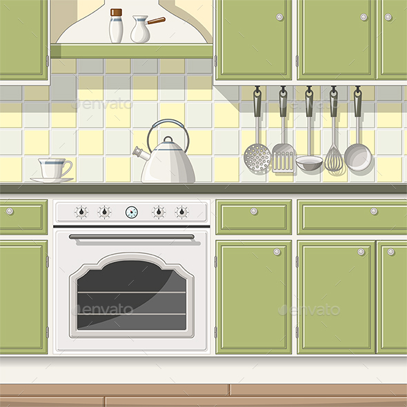 Illustration of a Classic Kitchen - Miscellaneous Vectors