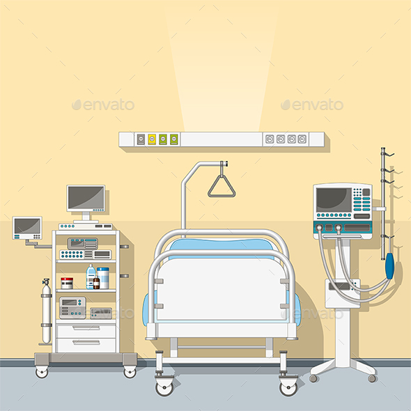 Illustration an Intensive Care Unit - Health/Medicine Conceptual