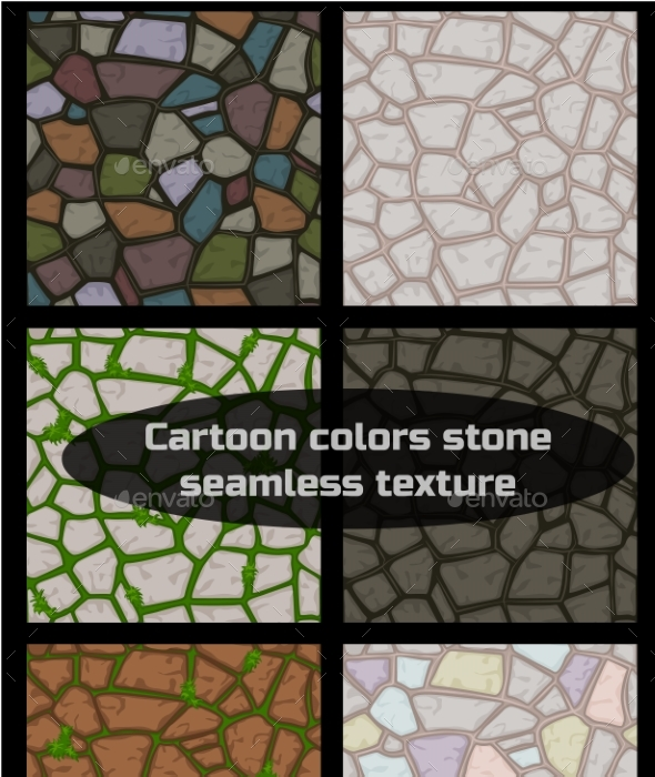 Cartoon Colored Stone Seamless Background - Backgrounds Decorative