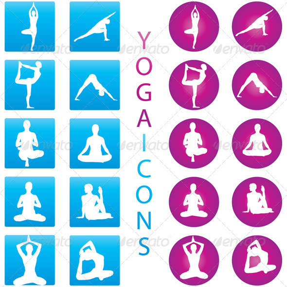 Yoga Icons - Illustration Set - People Characters