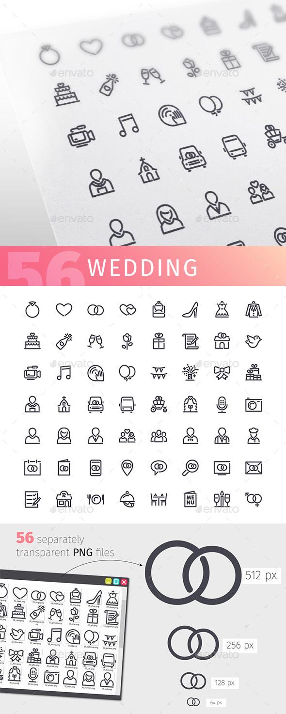 Wedding Line Icons Set - Miscellaneous Icons