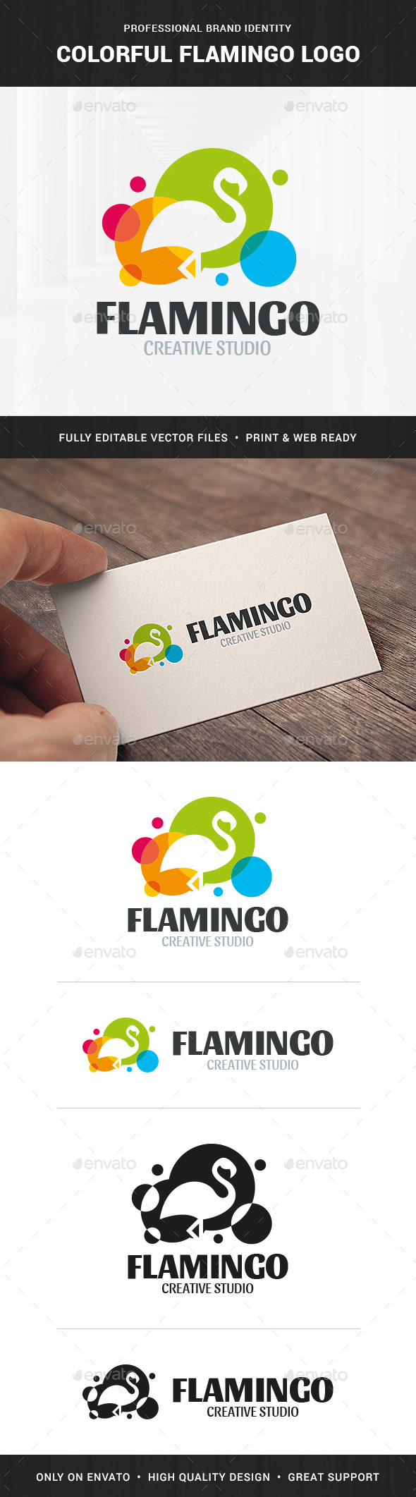 Colorful Flamingo Logo Template - Animals Logo Templates