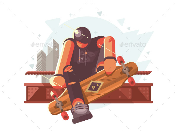 Guy with Long Board - People Characters
