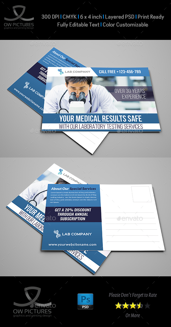 Medical Laboratory Postcard Template - Cards & Invites Print Templates