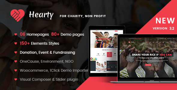Charity WordPress Theme | Hearty Charity
