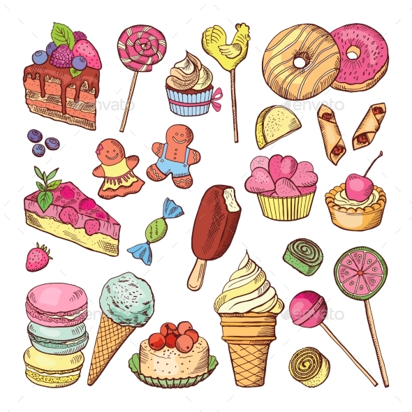 Wedding Desserts, Sweets Cupcakes and Ice Cream - Food Objects