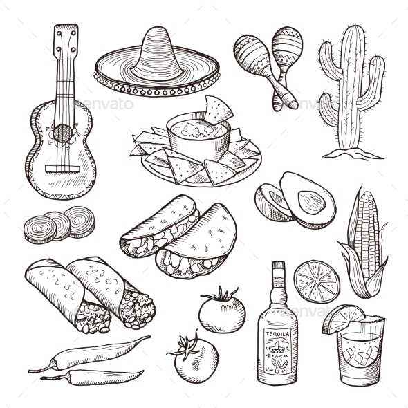 Mexican Culture Elements - Food Objects