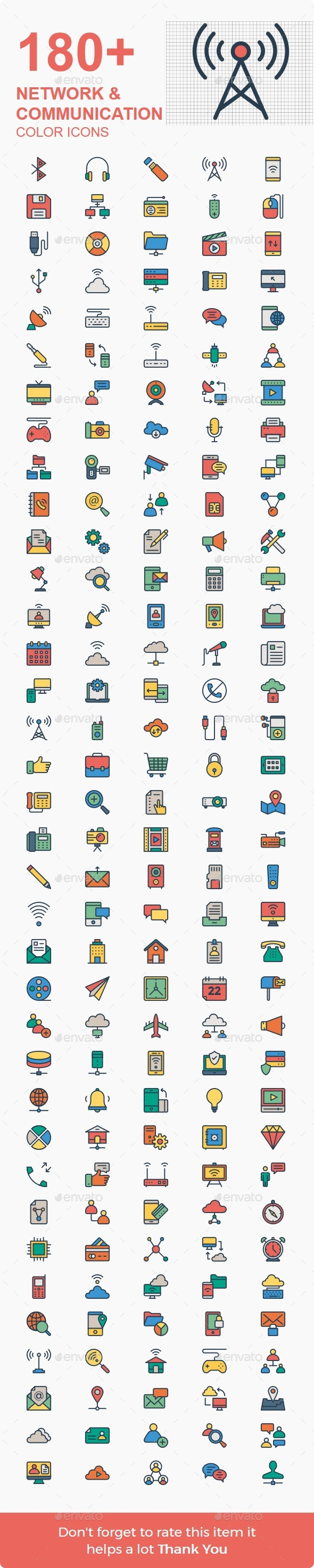 150+ Network & Communication line color - Icons