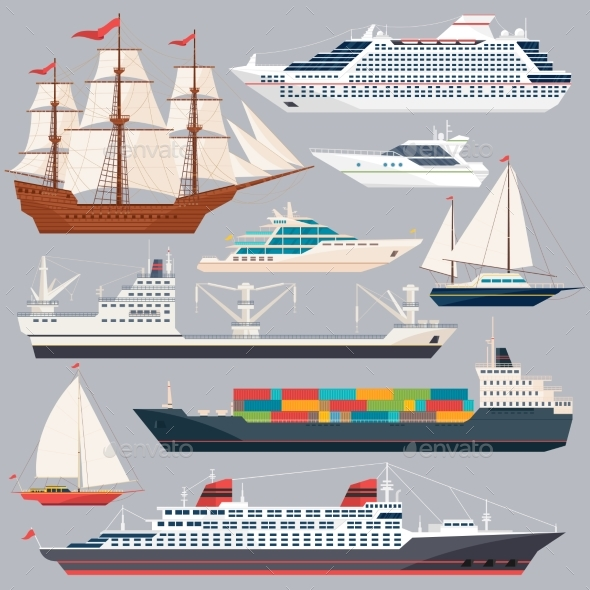 Sea Transportation. Vector Illustrations of Ships - Man-made Objects Objects