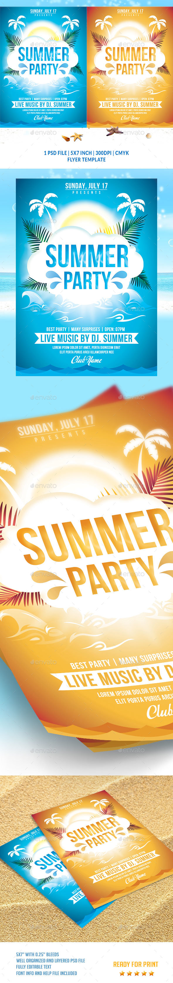 Summer Party Flyer Template v2 - Flyers Print Templates