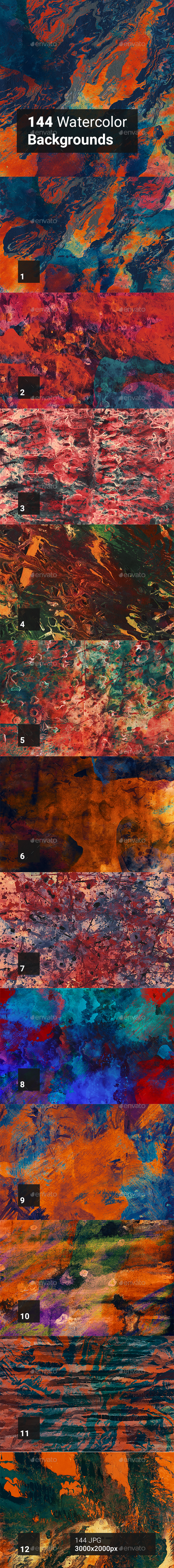 144 Watercolor Backgrounds - Abstract Backgrounds