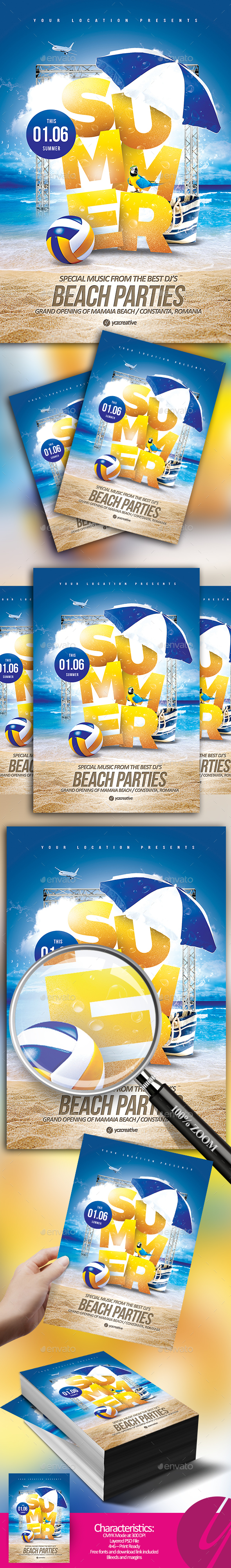 Summer Beach Parties Flyer - Clubs & Parties Events