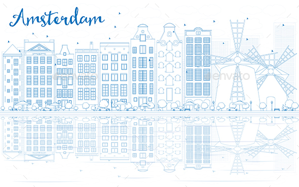 Outline Amsterdam Skyline with Blue Buildings and Reflections - Buildings Objects