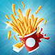 Flying Fries with Mustard and Ketchup on Blue Background - GraphicRiver Item for Sale