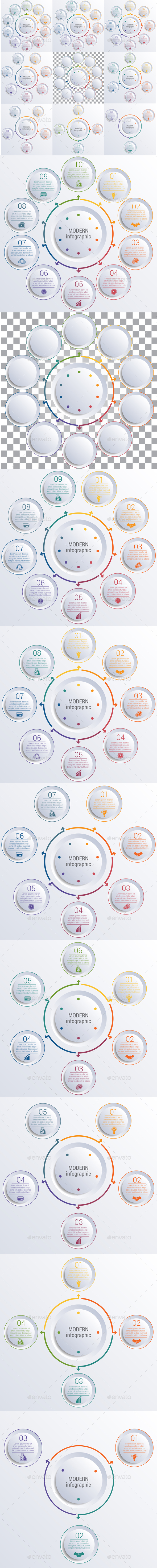Template for infographic diagram with 3,4,5,6,7,8,9,10 options circles - Infographics