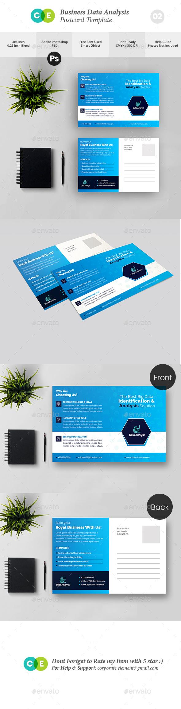 Pro Business Data Analysis Postcard V02 - Cards & Invites Print Templates