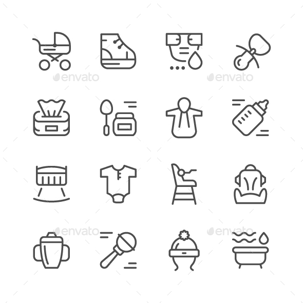 Set Line Icons of Newborn - Man-made objects Objects