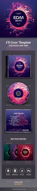EDM Beats CD Cover Artwork - CD & DVD Artwork Print Templates