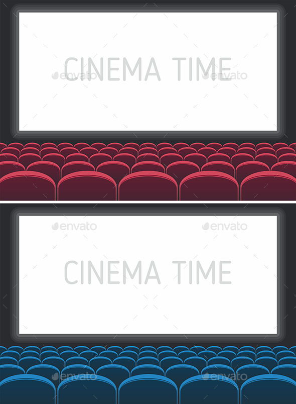 Red and Blue Cinema Theatre Seats - Miscellaneous Vectors