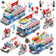 Food Truck Van Sushi Delivery Vector Isometric Vehicle Set