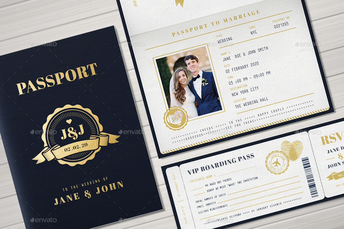 Passport Wedding Invitation by Vynetta02 | GraphicRiver