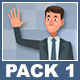 Businessman And Businesswoman Cartoon Characters Pack 1