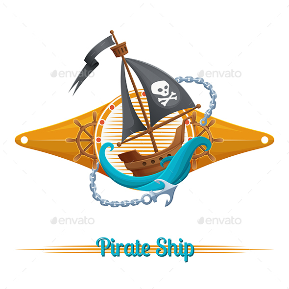 Pirate Ship Label - Decorative Symbols Decorative