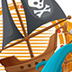 Pirate Ship Label - GraphicRiver Item for Sale