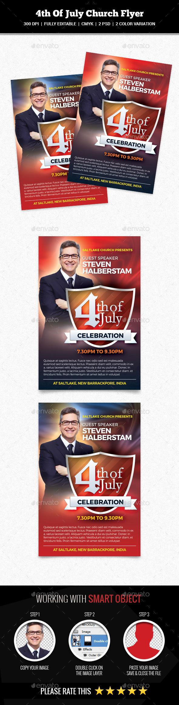 4th Of July Church Flyer - Church Flyers